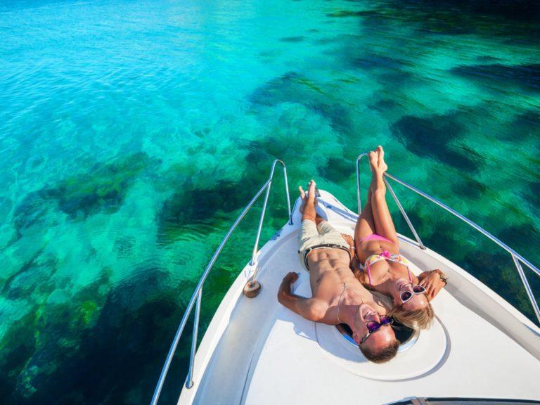 Sugar babby and sugar daddy enjoying on luxury boat